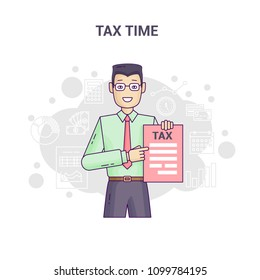 Conceptual banner reminder on tax time flat line design. Asian businessman in shirt and tie is hold and show tax return form and tax statistics on a white background.