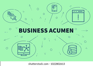 Conceptual business illustration with the words business acumen