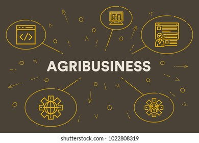 Conceptual business illustration with the words agribusiness