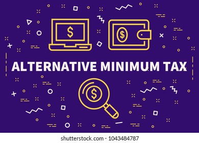 Conceptual business illustration with the words alternative minimum tax