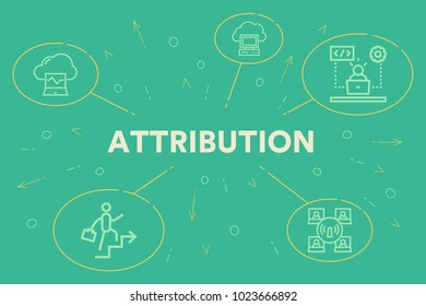 Conceptual business illustration with the words attribution