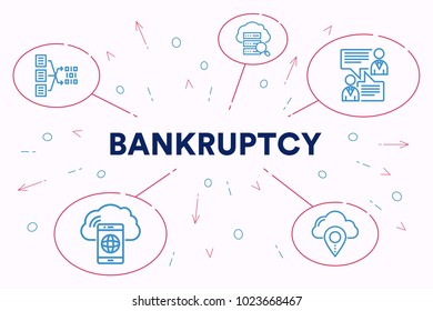 Conceptual business illustration with the words bankruptcy