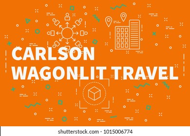 Conceptual business illustration with the words carlson wagonlit travel