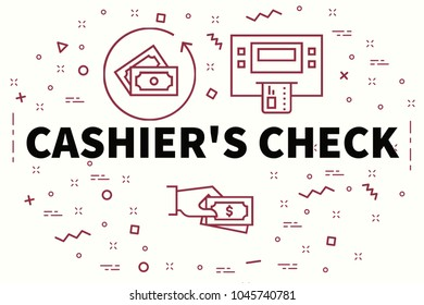 conceptual business illustration with the words cashier's check