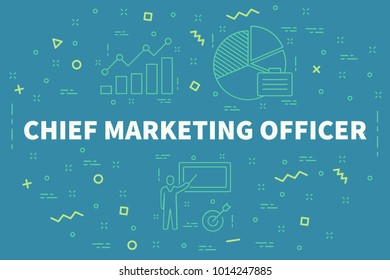 Conceptual business illustration with the words chief marketing officer