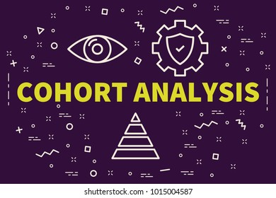 Conceptual business illustration with the words cohort analysis