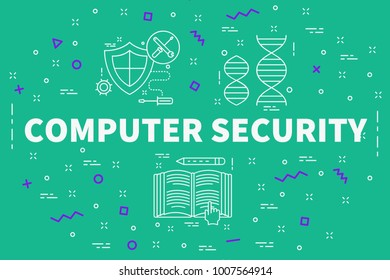 Conceptual business illustration with the words computer security