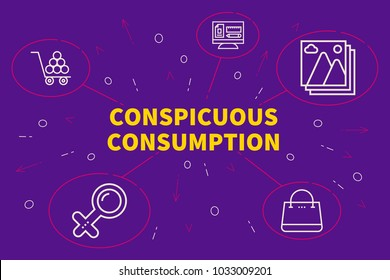 Conceptual business illustration with the words conspicuous consumption