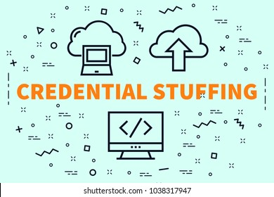 Conceptual business illustration with the words credential stuffing
