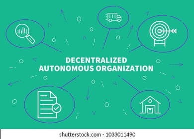 Conceptual business illustration with the words decentralized autonomous organization