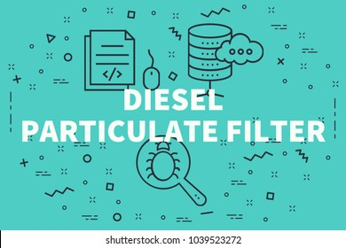 Conceptual business illustration with the words diesel particulate filter
