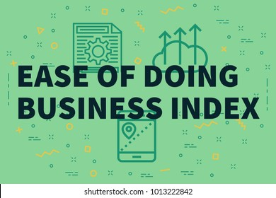 Conceptual business illustration with the words ease of doing business index
