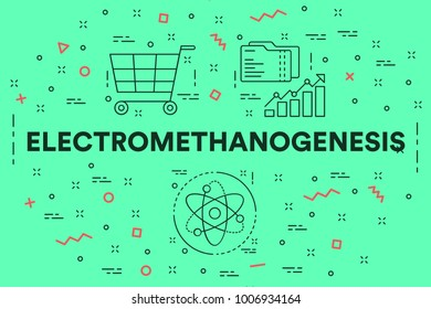 Conceptual business illustration with the words electromethanogenesis