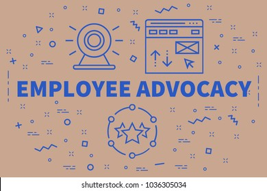Conceptual business illustration with the words employee advocacy