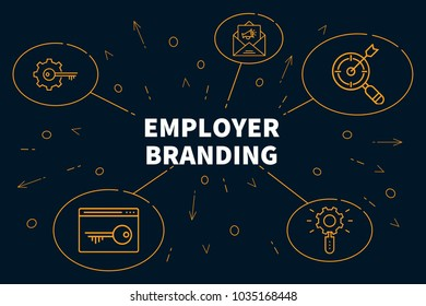 Conceptual business illustration with the words employer branding