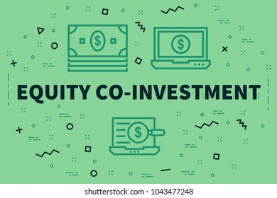 Conceptual business illustration with the words equity co-investment