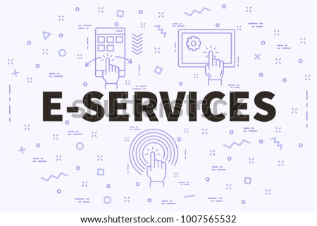 conceptual business illustration words eservices stock illustration