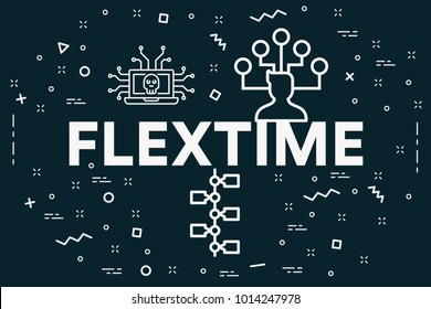 Conceptual business illustration with the words flextime