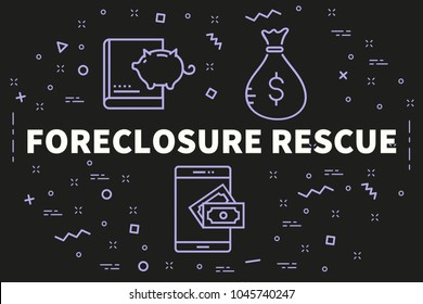Conceptual business illustration with the words foreclosure rescue