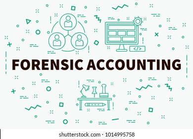 Conceptual business illustration with the words forensic accounting
