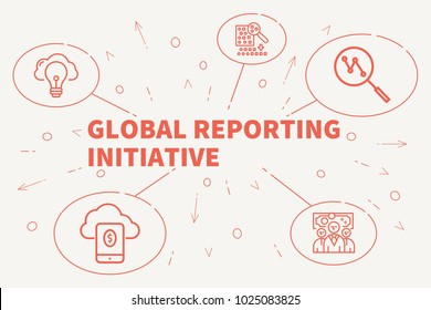 Conceptual business illustration with the words global reporting initiative