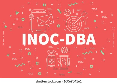 Conceptual business illustration with the words inoc-dba