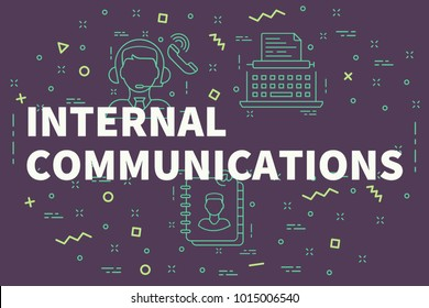 Conceptual business illustration with the words internal communications