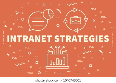 Conceptual business illustration with the words intranet strategies