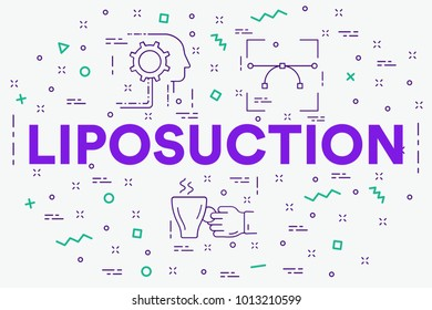 Conceptual business illustration with the words liposuction