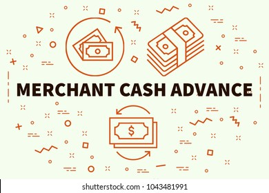 Conceptual business illustration with the words merchant cash advance