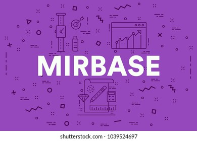 Conceptual business illustration with the words mirbase