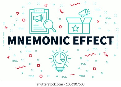 Conceptual business illustration with the words mnemonic effect