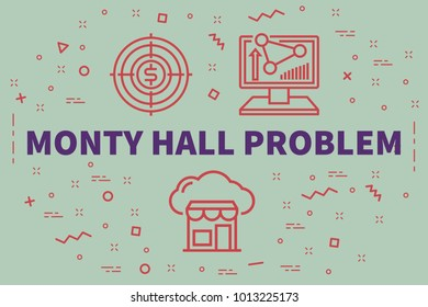 Conceptual business illustration with the words monty hall problem