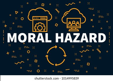 Conceptual business illustration with the words moral hazard