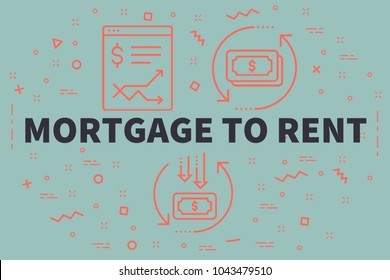 Conceptual business illustration with the words mortgage to rent