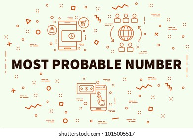 Conceptual business illustration with the words most probable number