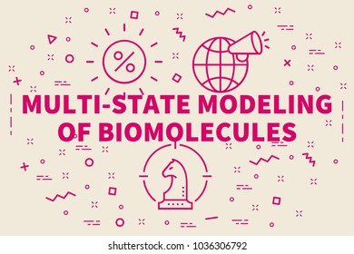 Conceptual business illustration with the words multi-state modeling of biomolecules