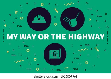 Conceptual business illustration with the words my way or the highway