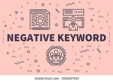 Conceptual business illustration with the words negative keyword