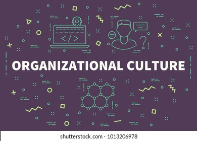 Conceptual business illustration with the words organizational culture