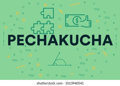 Conceptual business illustration with the words pechakucha