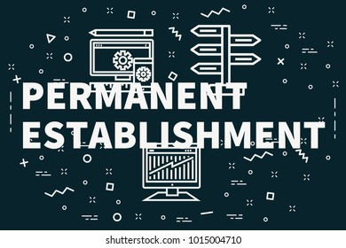 Conceptual business illustration with the words permanent establishment