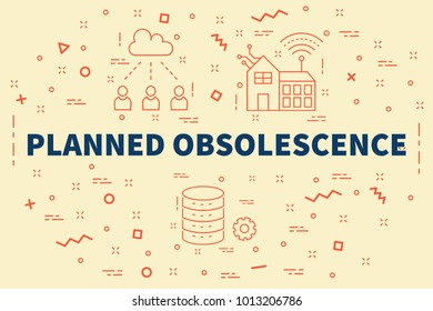 Conceptual business illustration with the words planned obsolescence
