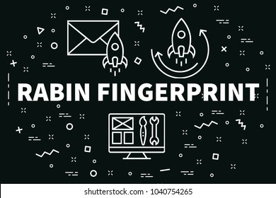 Conceptual business illustration with the words rabin fingerprint