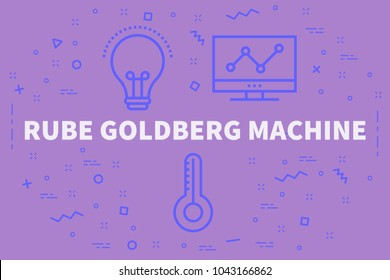 Conceptual business illustration with the words rube goldberg machine