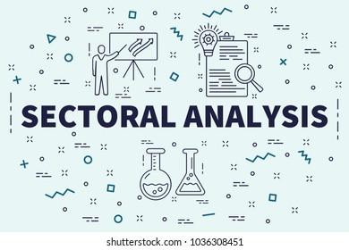 Conceptual business illustration with the words sectoral analysis