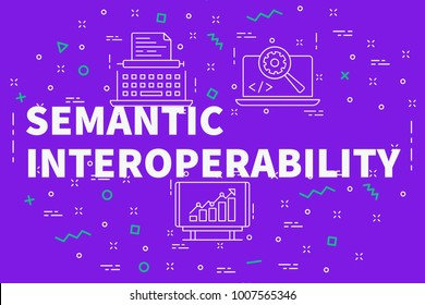 Conceptual business illustration with the words semantic interoperability