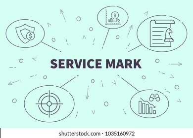 Conceptual business illustration with the words service mark