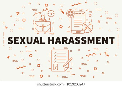 Conceptual business illustration with the words sexual harassment