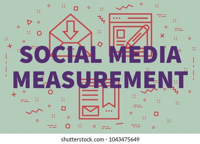 Conceptual business illustration with the words social media measurement